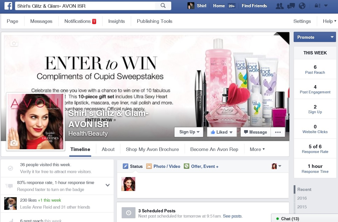 Create an Avon Facebook Page - Shirl's Glitz & Glam
