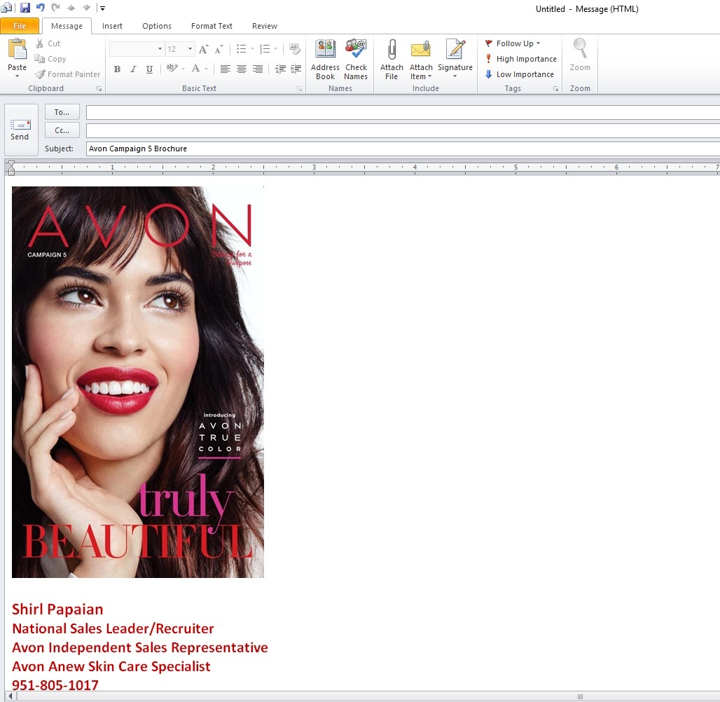 Sending the Avon Brochure Via Email - Shirl's Glitz & Glam